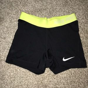 Neon green and black Nike Pro Short
